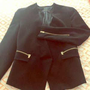 Zara Basic Black blazer with zippers on sleeves
